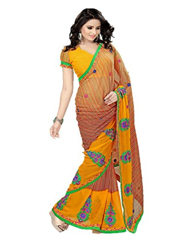 Sharda Sarees Chiffon Saree (Yellow-Brown) with Blouse Piece