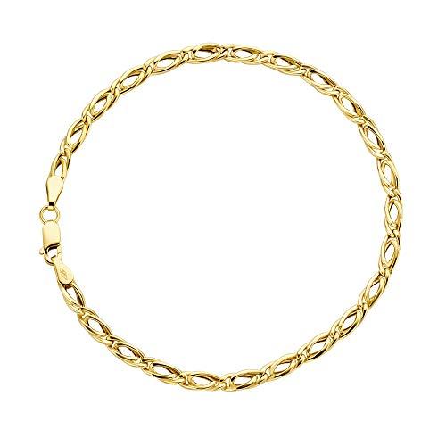 Tigeraugen Armband 14 Karat 585 Gelbgold Unisex Breite 3.50 mm (21) - Gold Herren 14k Armband Gelb