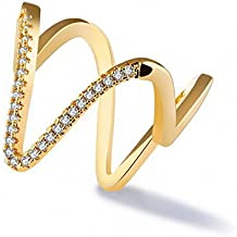 Anillo en Forma de V en Forma de Anillo de Diamantes Dedo Del Anillo Exquisito Delicado Anillo Anillo Doble Anillo 7 #
