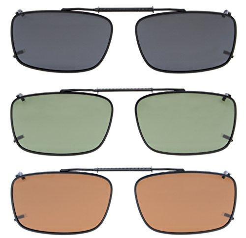 Eyekepper Grau/Braun / G15 Objektiv 3-pack Clip-on Polarisierte Sonnenbrillen 54x34MM