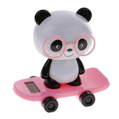 r Kunststoff Wackelfigur, Tanzende Figur Kopf schütteln, Solarbetrieb Schwein / Hund / Panda / Kaninchen Tier Figur, Geschenke für Erwachsene und Kinder - Panda - Rosa (Kunststoff-figuren Hund)