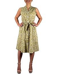 Peach Couture Vintage de Trabajo botón Up Vestido Shift Vestido cinturón de Tela…