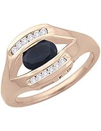 Silvernshine 0.1Cts Round Cut Blue Sapphire & Sim Diamonds Engagement Ring 14KT White Gold PL