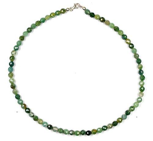 Achat Schmuck (Halskette) Moos-Achat Kette Verschluss 925er Sterling-Silber Modellnummer 7028 (Moos-achat Halskette)