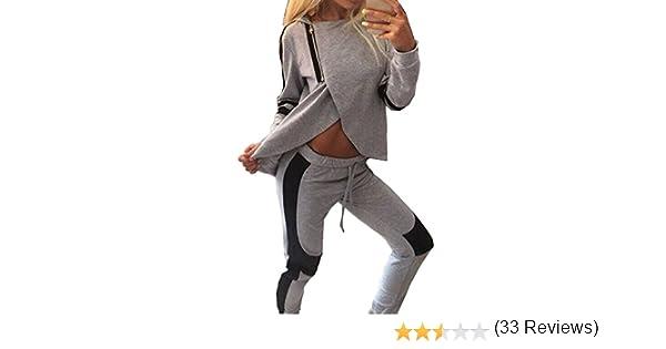 Moollyfox Donna Tuta da Ginnastica Tuta 2 Pezzi con Cappuccio Stile Casual Tuta Sportiva Training Set Camicetta Pantaloni