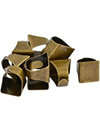 MagiDeal 110 Pieces Adjustable Brass Ring Blanks Base With Rectangle Pads DIY Jewelry Making Findings