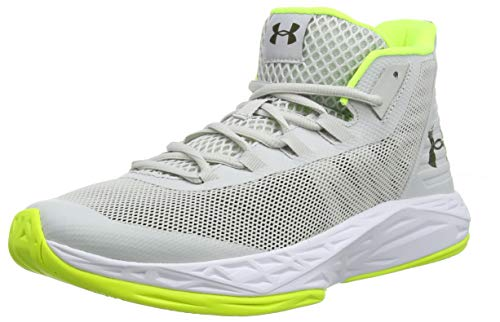 Under Armour Jet Mid, Herren Basketballschuhe, Grau (Gray Flux/ White/ High-Vis Yellow (106) 106), 41 EU (7 UK)