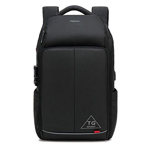 Gooz 17.3-Zoll-Business-Laptop-Rucksack, Reise Schule Schule Computer Tasche mit USB-Ladeanschluss, dauerhafte Wasserdichte Tasche Junge Mädchen Damen Männer - schwarz
