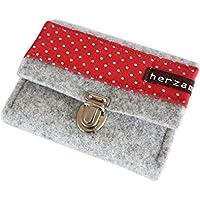 5d30f68da1a79 Portemonnaie Damen Gr.S Geldbörse mit Steckschloss rot weiss gepunktet  Punkte Geldbeutel klein