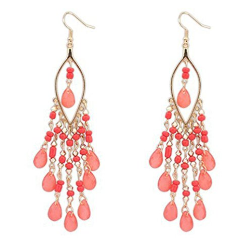DAY.LIN Damen Ohrringe 1 Paar Frauen Charme Bohemien Bunte Perlen Ohr Tropfen Dangle Quasten Ohrringe (Pink)