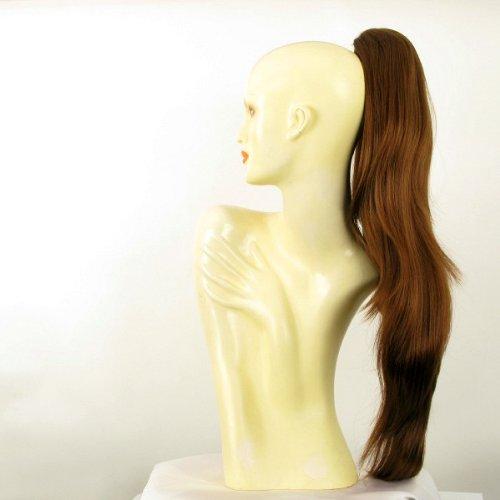 Postiche queue de cheval extension femme longue lisse 70 cm châtain doré cuivré ref 5 en 30
