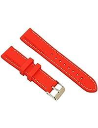 bandas de goma transpirable rojo reloj de pulsera con blanco primavera línea de la barra de