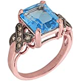 Little Treasures - 14 ct Rose Gold Blue Topaz and Champagne Color Diamond Engagement Ring