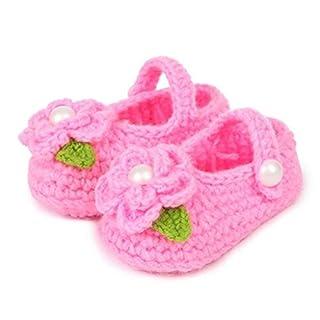Auxma Casual Krippe häkeln Casual Baby Mädchen Handarbeit Socken Baby stricken Rose Schuhe für 0-12 Monate (rosa)