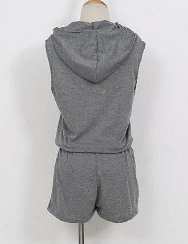 GSP-Combinaisons Aux femmes Sans Manches Sexy Mélanges de Coton Moyen Non Elastique gray-xl
