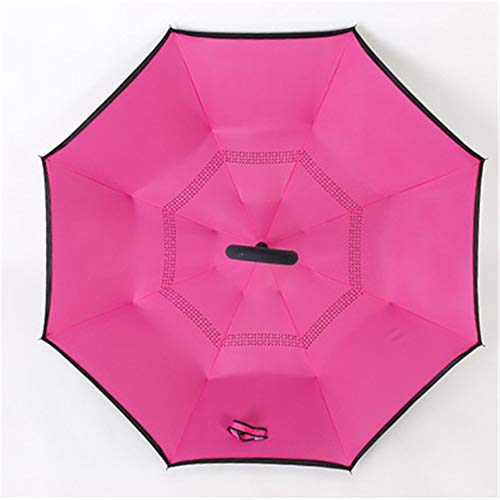 YuYa Sonnenschirm Regenschirm kann Auto Sonnenschirm Reverse Regenschirm Regen Dual-Use-Sonnenschutz Auto Reverse Regenschirm Rose rot 110cm Stehen