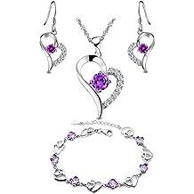 Hecho con SWAROVSKI ELEMENTS Conjunto de Joyas Collar Colgante Pulsera Pendientes Corazón Oro Blanco Enchapado Plata de ley Regalos para Mujer Púrpura