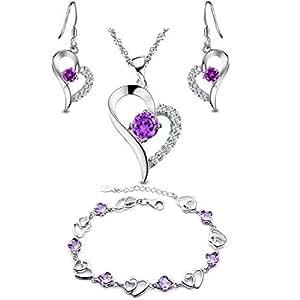 Argento Swarovski Elements Tu sei l'unico nel mio cuore pendente della collana + Bracelet + Orecchini Set - Viola