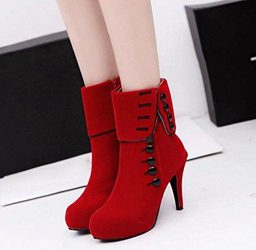 Covermason Winter Damen Hoher Absatz Schuhe Stiefel Stiefeletten Rot