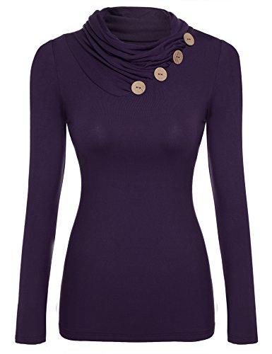 Zeagoo Damen Rollkragen Basic Slim Fit Shirt Langarmshirt Top Bluse, Lila, EU 38(Herstellergröße:M)