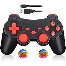 Mando Inalámbrico Bluetooth Controller Doble Vibración para Sony PS3 PlayStation 3 con Funciones SIXAXIS (Rojo)