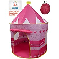 Pink Pop up Portable Foldable Play Tent Castle Playhouse Kids Girls Children Outdoor/Indoor Games 135 x 105 cms