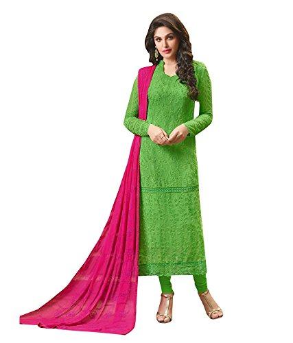 Manish Creation Women's Chiffon Semi-Stitched Salwar Suit(Shree-Fabs_Desert-Vol-13_1302_Green Free Size)
