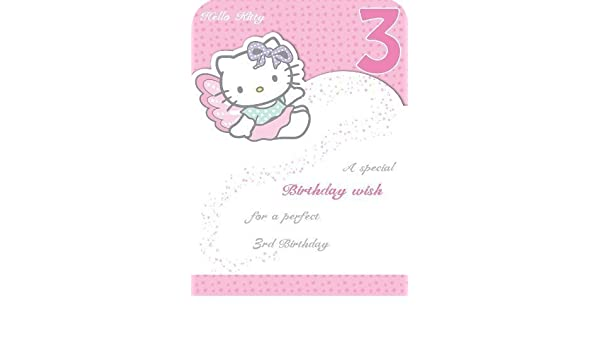 3d13dad6b Hello Kitty Age 3 Fairy Birthday Card: Amazon.co.uk: Kitchen & Home