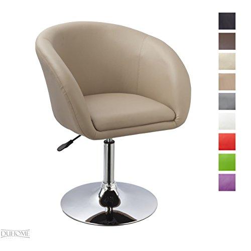 Duhome Elegant Lifestyle Sessel Cappuccino höhenverstellbar Esszimmerstuhl Kunstleder Clubsessel Coctailsessel Loungesessel - Typ 440