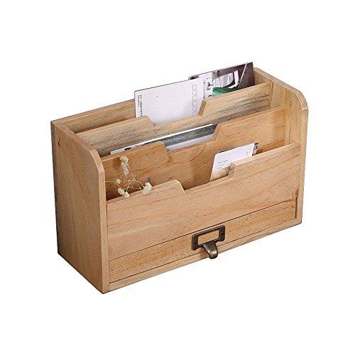 RZ.hs Wooden Storage Organizer Desktop-Datei Organizer Mail Sorter Office Aufbewahrungsbox 3 Slots mit Schublade, 29 * 17 * 11cm, Burlywood