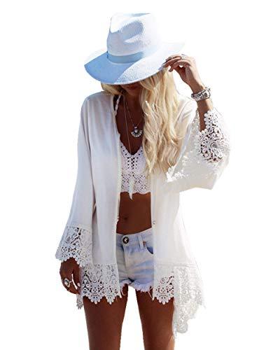 PANAX Damen Strand Chiffon Cardigan Weiß mit Spitze - Sommer Urlaub Poncho Bikini Cover up