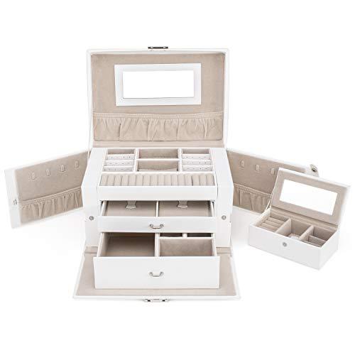 TRESKO Schmuckkasten abschließbar | Schmuckkästchen Damen | Schmuckkoffer mit 3 Ebenen, Spiegel und Schubladen | Spiegel | Mini-Box