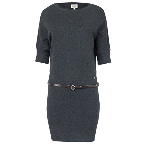 Khujo Damen Strickkleid Fledermaus-Ärmel, Farbe:black melange;Größe:XL