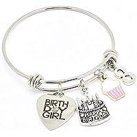 Jesse Janes Jewelry 8th Birthday Girl Idea de regalo Charm Bangle Bracelet con esmalte Cupcake Silver Pink