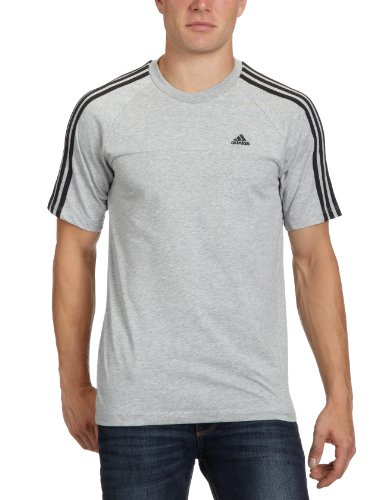 adidas Herren T-Shirt Essentials 3-Stripes Crew, Medium Grey Heather/Black, S, X19204 (Crew Stripe T-shirt)
