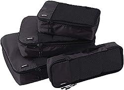 AmazonBasics garment bag set, 4-piece, each 1 small, medium, large and narrow bag, black