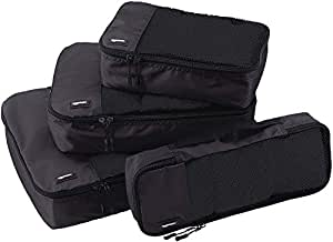 AmazonBasics Bag Organizer Packing Cubes - Small, Medium, Large, and Slim (4-Piece Set), Black (ZH1509009)