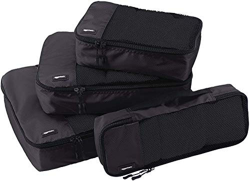 AmazonBasics Bag Organizer Packing Cubes - Small, Medium, Large, and Slim (4-Piece Set), Black (ZH1509009)