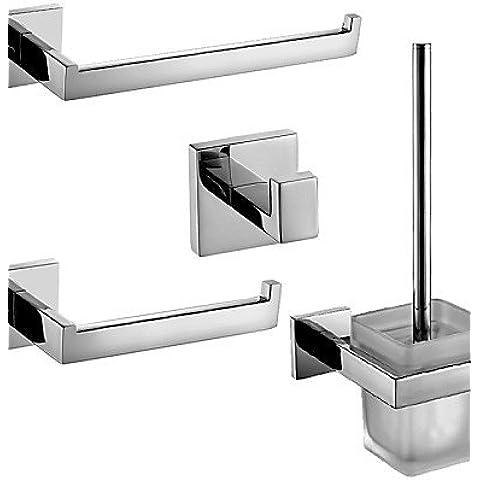 Polacco in acciaio inossidabile Accessori per bagno Set con Anello portaasciugamano porta-carta igienica wc portaspazzole e accappatoio gancio ,