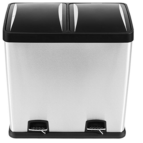 Mari Home - Fingerprint Proof 60 Litre Stainless Steel 2 in 1 Foot Pedal Recycle Bin Dustbin 2 x 30L Recycling Inner Compartments Section Garbage Kitchen Eco Waste Silver Trash Can