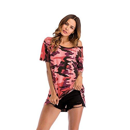 T-Shirts Frauen Lange lose ausgesetzt Schulter Fledermaus Ärmel Camouflage T-Shirt Dame Temperament Sexy Lässig Bequem (Color : Red, Size : XXL) 6 Zoll Damen Sexy