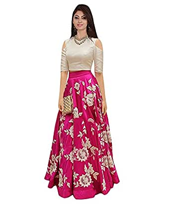Generative Shoppe Women's Silk Dress Material (Ivory/Pink_Free Size, Semi-Stitched )