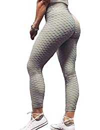 69348278f0b3d Women's Ruched Butt Fitness Leggings High Waist Stretchy Honeycomb Texture  Running Tights