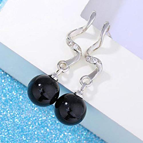 ESCYQ Orecchini A Bottone Orecchini Pendenti Linea Dell'Orecchio Nero Imitazione Orecchino di Perla 925 Sterling Silver Dangle Earrings per Donne Fashion Gioielli Regalo