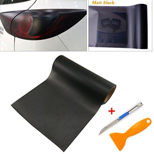 QEUhang 2 PCS Scheinwerfer Folie Tönungsfolie Aufkleber 120cm x 30cm für Auto Scheinwerfer Rückleuchten Blinker Nebelscheinwerfer (Matt Schwarz)