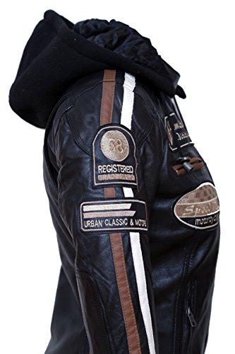Urban Leather Damen Motorradjacke mit Protektoren, Schwarz, L - 7
