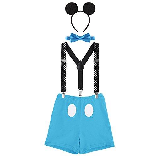 OwlFay Neugeborenen Kleinkind Baby Jungen Mickey Maus 1. / 2./ 3. Geburtstag Outfit Fotoshooting Kostüm Fliege +Clip-on Hosenträger +Hosen +Maus Ohren 4pcs Bekleidungssets Halloween Karneval