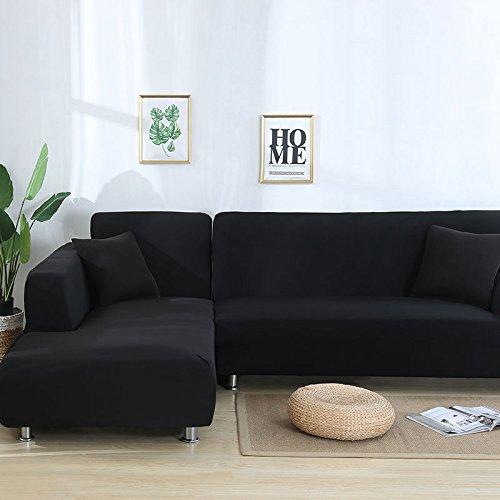 SSDLRSF Sofa Abdeckung Große Elastizität 100% Polyester Spandex Stretch Couch Abdeckung Sofa Sofa Handtuch Möbelbezug Maschinenwäsche (90-300 cm), Schwarz, 4seater 235-300 cm