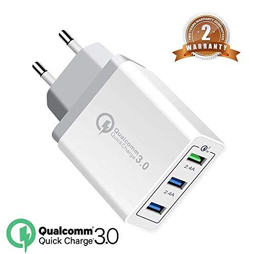Quick Charge 3.0 USB Caricatore30W rapido Caricabatterie,Doppia QC3.02.0 Smart Alimentatore USB Adattatore di Alimentazione e Ricarica Caricatore+Plug rimovibile per SamsungiPhoneiPad Huawei