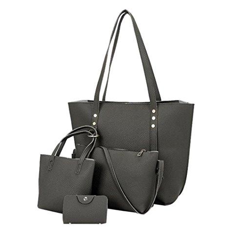 , VJGOAL 4Pcs Frauen Mädchen Mode Muster Leder Schultertasche + Umhängetasche + Handtasche + Brieftasche Geschenke (38*13*29cm, Dunkelgrau) (Günstige Halloween-taschen)